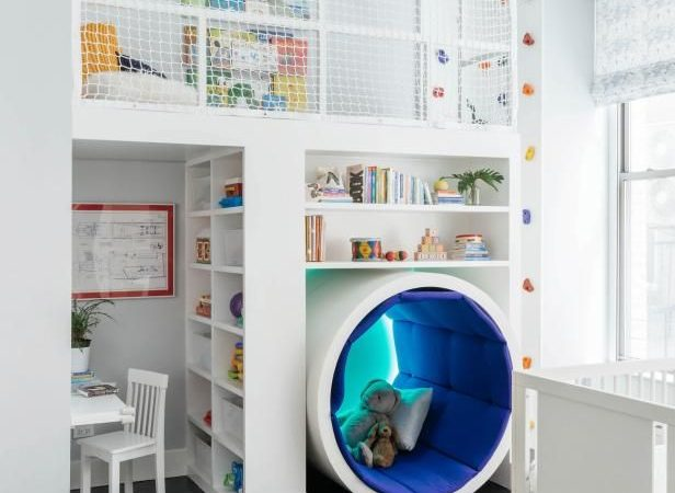 Kids Playroom With Tunnel and Climbing Wall