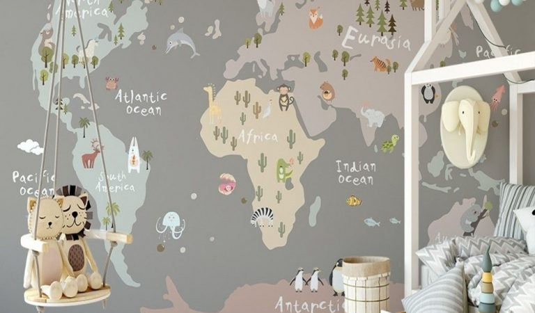 Kids Beige World Map with Animals Wallpaper Mural
